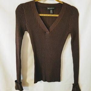 INC Brown Ribbed V-Neck Silk Blend Sweater Medium